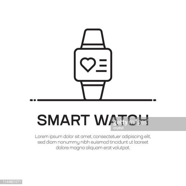 smart watch vector line icon - simple thin line icon, premium quality design element - wrist stock illustrations, clip art, cartoons, & icons