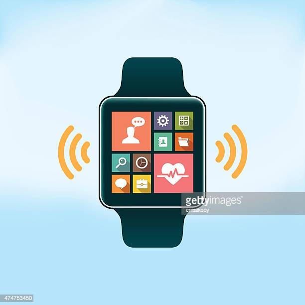 smart watch with flat design icons - smart watch stock illustrations