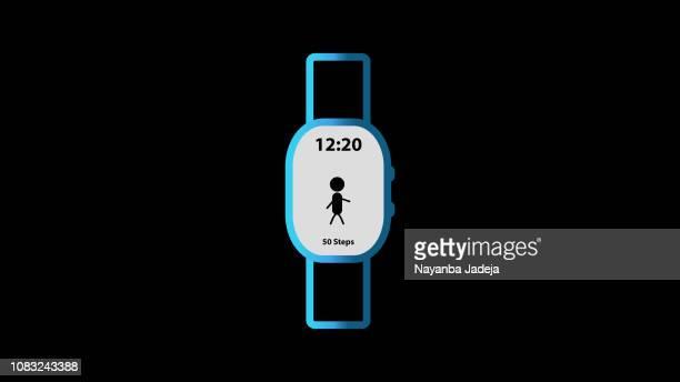 smart watch wrist watch icon - fitness tracker stock illustrations, clip art, cartoons, & icons