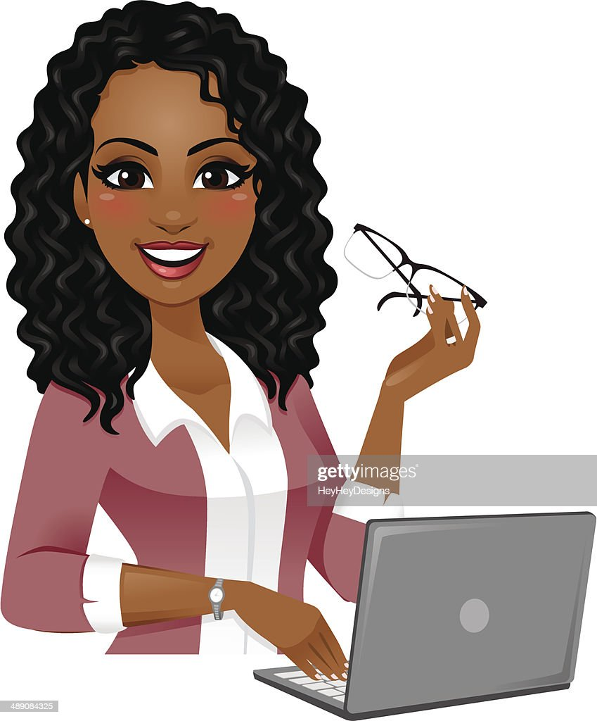 smart woman on laptop vector art getty images