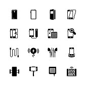 Smartphone accessories vector icon set