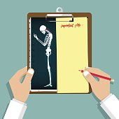 Smartphone Addiction Infographic in flat design. Unhealthy effects of your phone. Human bone anatomy. Clipboard in doctor hand. Medical and health care report.