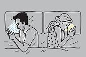 Smartphone addiction on bed
