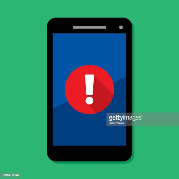 smartphone alert - exclamation mark stock illustrations