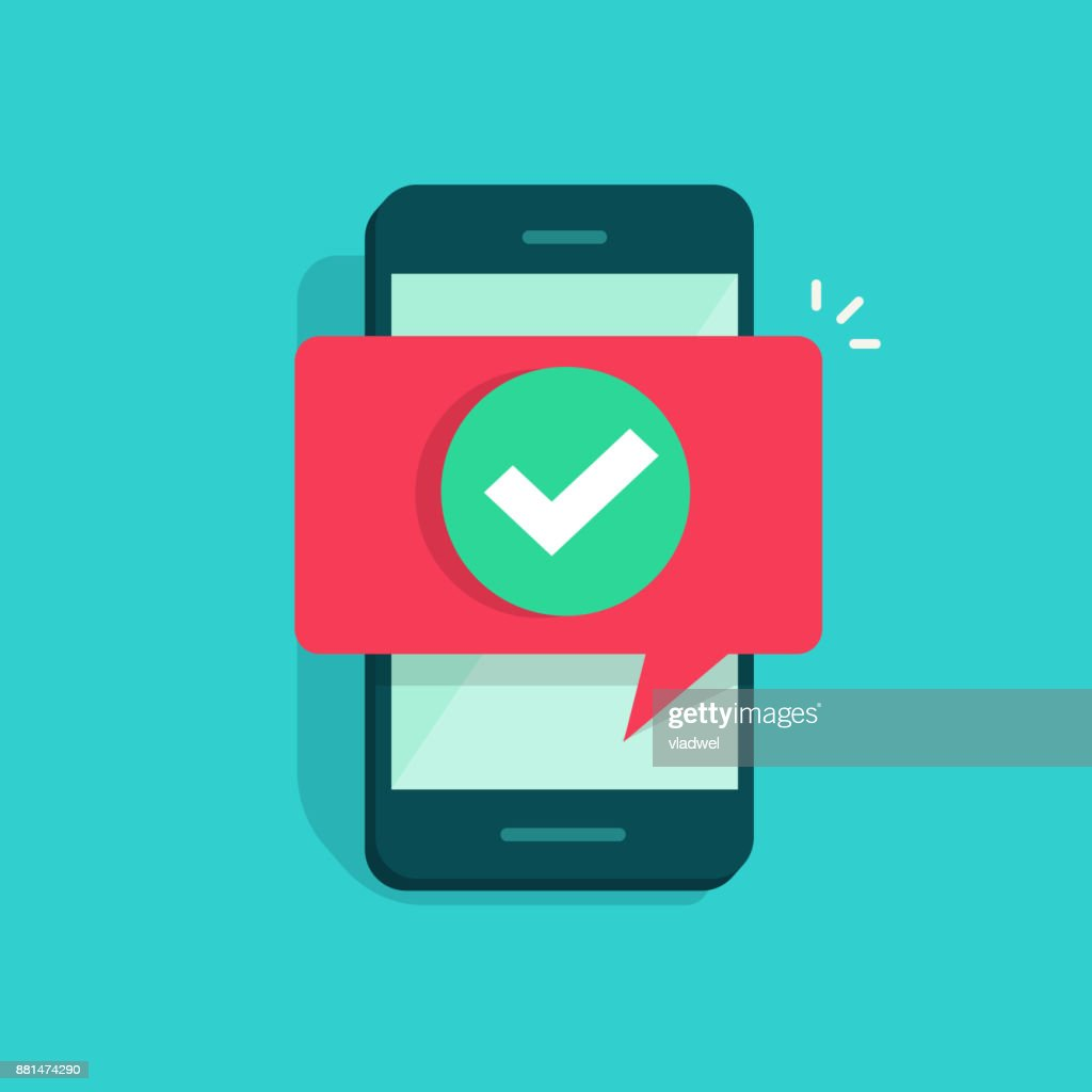 Smartphone and checkmark vector illustration, flat mobile phone approved tick notification, idea of successful update check mark, accepted, complete action on cellphone, yes or positive vote