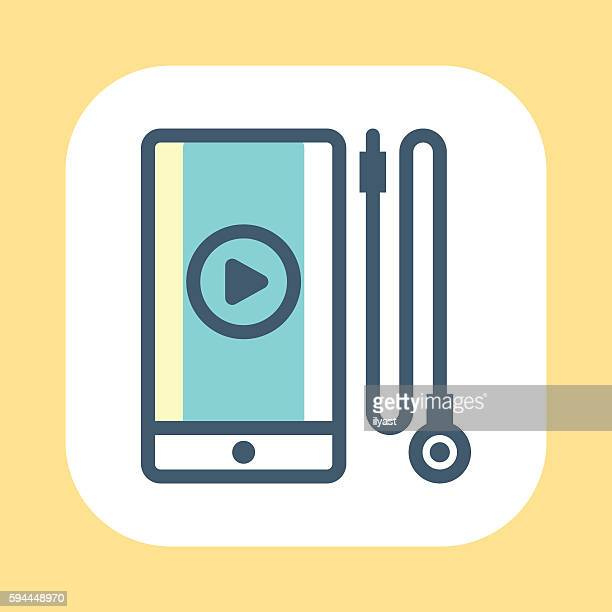 smartphone and earphones symbol - podcasting stock illustrations, clip art, cartoons, & icons