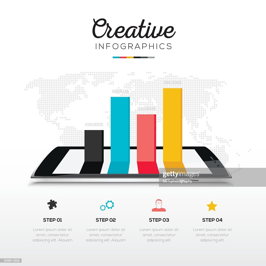 Smartphone and infographic business vector elements and icons