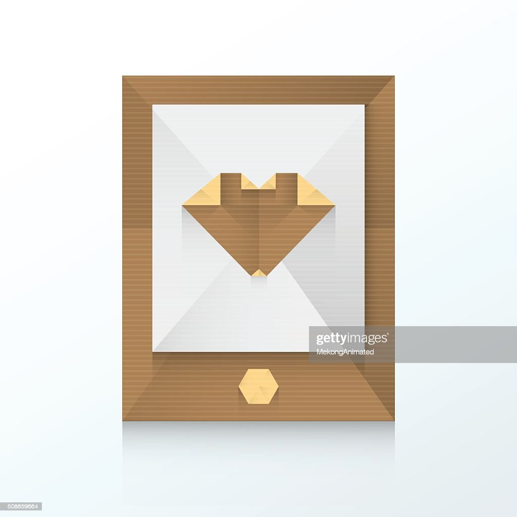 smartphone and love icon origami paper : Vector Art