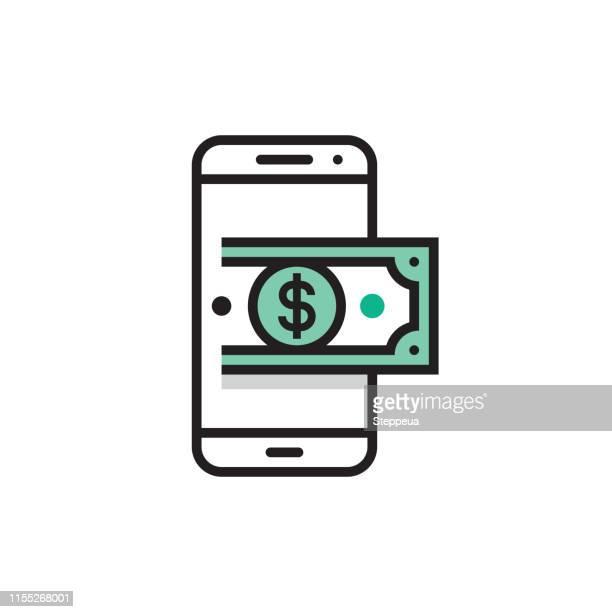 smartphone und geld - abschicken stock-grafiken, -clipart, -cartoons und -symbole