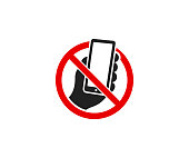 Smartphone and prohibitory sign logo design. It is forbidden to use a mobile phone vector design. Warning sign illustration