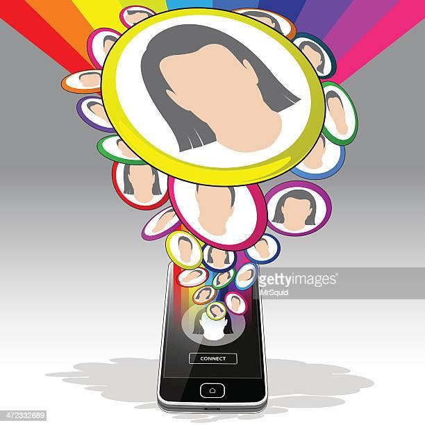 smartphone and social media activity - emitting stock illustrations, clip art, cartoons, & icons