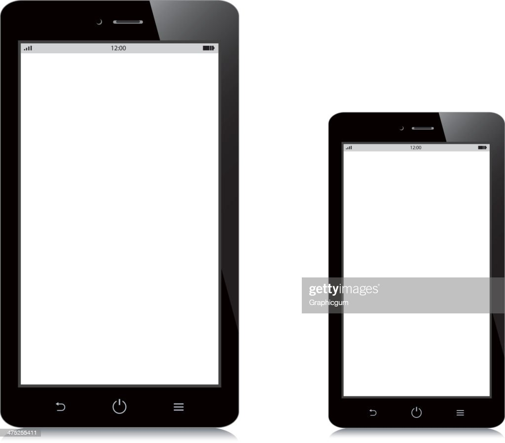 smartphone and tablet blank screen on white background