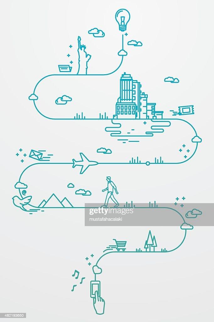 Smartphone und um die Welt reisen : Stock-Illustration