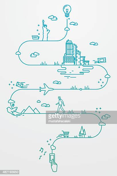 smartphone and travel around the world - line art stock illustrations