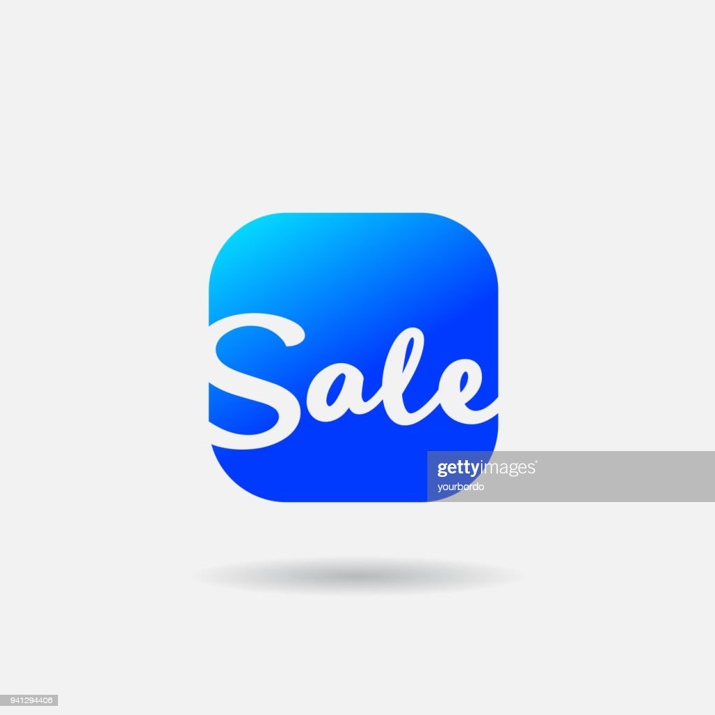Smartphone App Vector Icon. Online Store Sale Special Offer Web or Mobile application vector flat Icon. Summer style handwritten word Sale with color background.