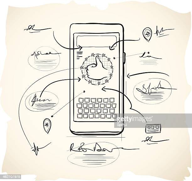 smartphone application design - sketch stock illustrations