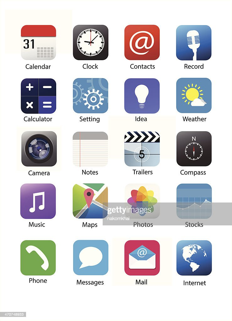 Smartphone application icon set 1