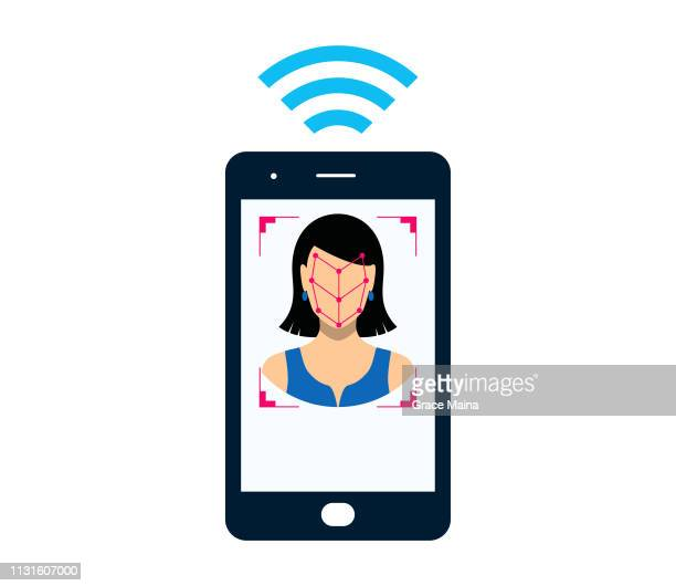 smartphone bio-metrics of a woman , face detection, recognition and identification - validation stock illustrations, clip art, cartoons, & icons