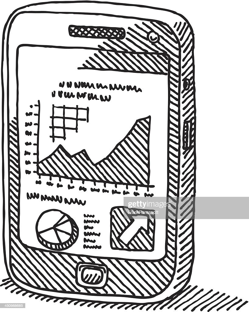 Smartphone Business Graph Drawing : stock illustration