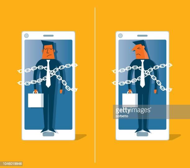 ilustrações de stock, clip art, desenhos animados e ícones de smartphone - businessman - prisoner - proibido celular