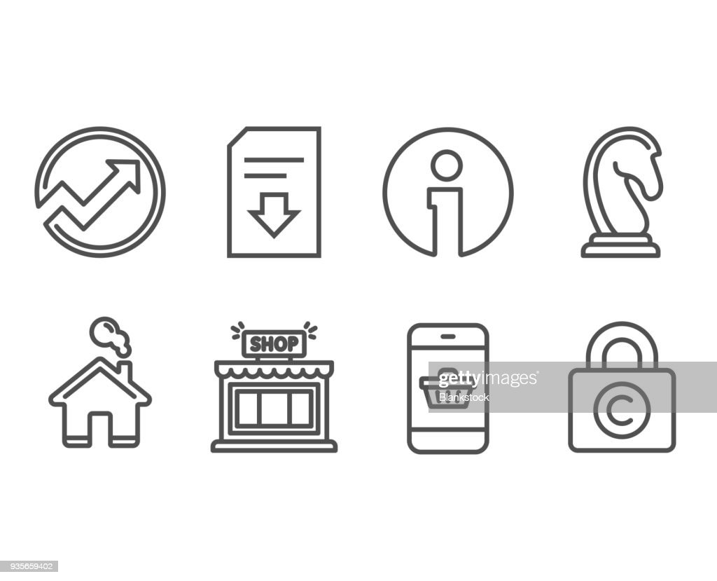 Smartphone buying, Audit and Download file icons. Marketing strategy, Shop and Ð¡opyright locker signs.