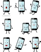 Smartphone cartoon with different pose