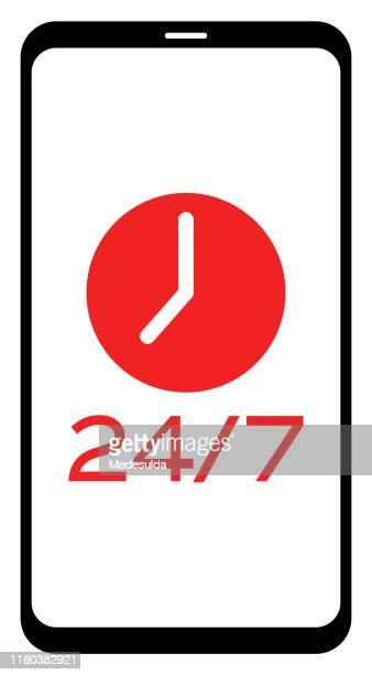 スマートフォンの時計アイコン - 24時間営業点のイラスト素材/クリップアート素材/マンガ素材/アイコン素材