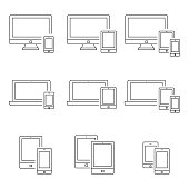 Smartphone, computer,laptop and tablet PC in thin line style