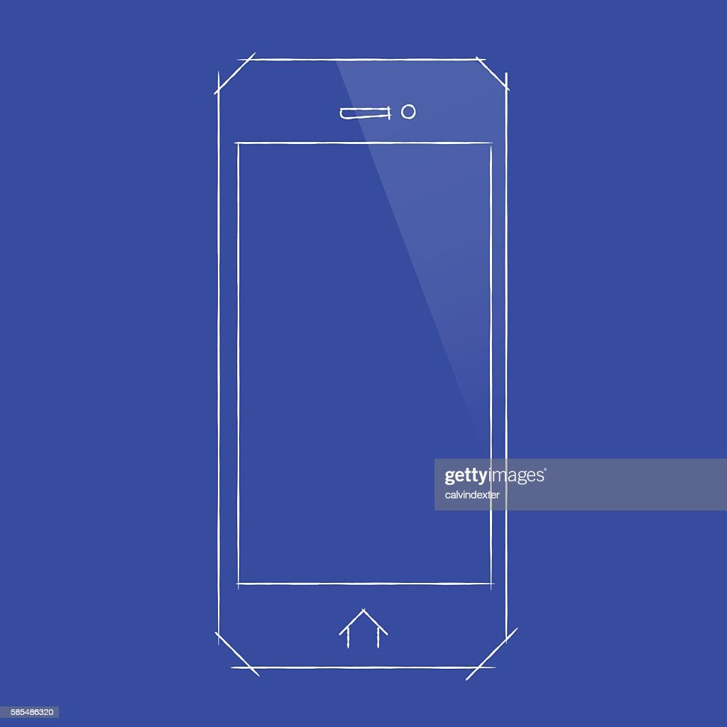 Smartphone concept design on blueprint document vector art getty smartphone concept design on blueprint document vector art malvernweather Gallery