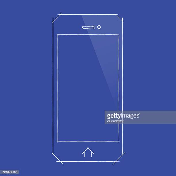 Arte vectorial y grficos de wire frame model getty images smartphone concept design on blueprint document malvernweather Image collections