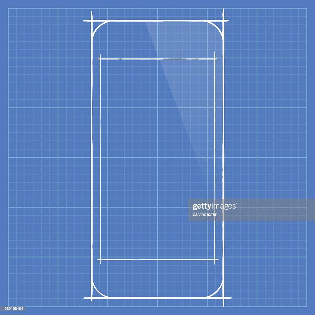 Smartphone concept design on blueprint