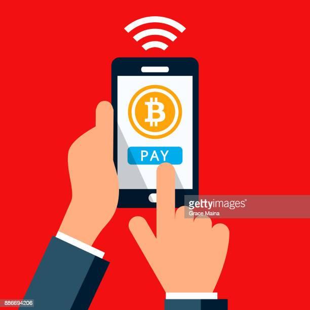 kontaktloses bezahlen smartphone - vektor - berührungsbildschirm stock-grafiken, -clipart, -cartoons und -symbole