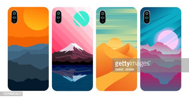 smartphone cover, stylish colored case - phone cover stock illustrations