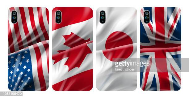 smartphone cover, usa flag colored case - phone cover stock illustrations