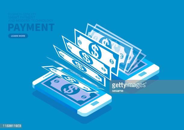 ilustrações, clipart, desenhos animados e ícones de pagamento e transferência de moeda do smartphone - loja de produtos eletrônicos