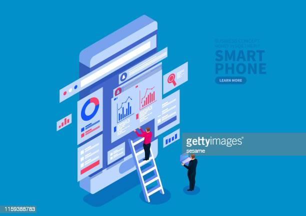 illustrazioni stock, clip art, cartoni animati e icone di tendenza di smartphone data optimization and web services, financial transactions, mobile banking - big data