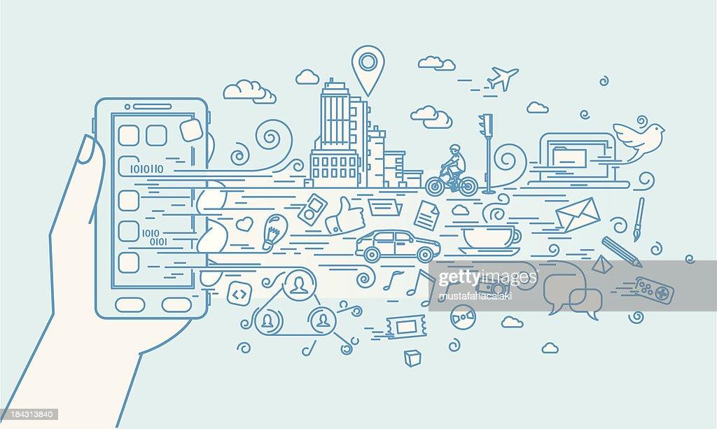 Smartphone Gekritzel mit Anwendungen : Stock-Illustration