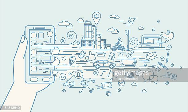 smartphone doodle with applications - technology stock illustrations