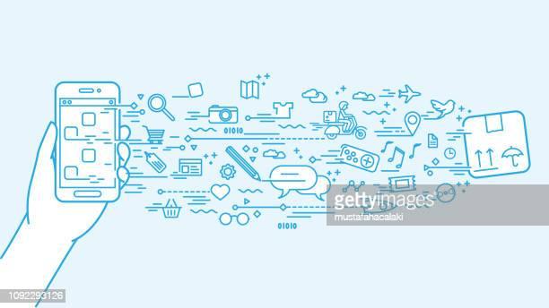 stockillustraties, clipart, cartoons en iconen met smartphone doodle met lineart toepassingen pictogrammen - informatiemedium