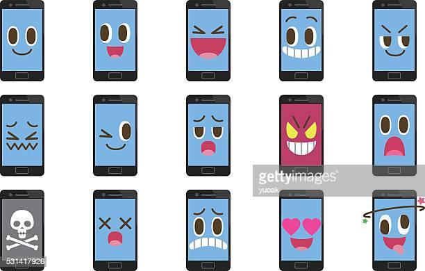 ilustraciones, imágenes clip art, dibujos animados e iconos de stock de emoticonos de smartphone - inocentada