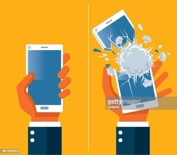 ilustrações, clipart, desenhos animados e ícones de explosão de smartphone - destruição