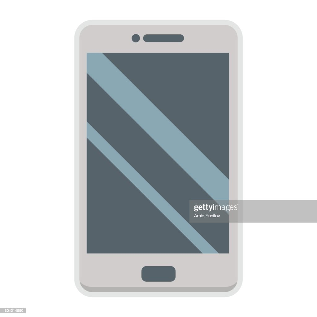 Smartphone flat icon, phone and touch screen, vector graphics, a colorful solid pattern on a white background, eps 10.