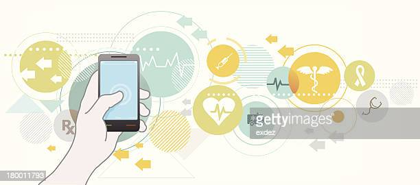 smartphone for healthcare - medical symbol stock illustrations, clip art, cartoons, & icons