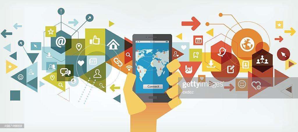Smartphone for social networking : Vector Art