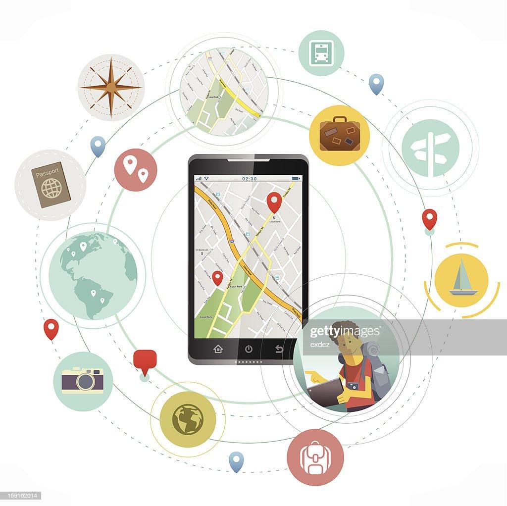 Smartphone para colaboradores em viagem : Arte vetorial