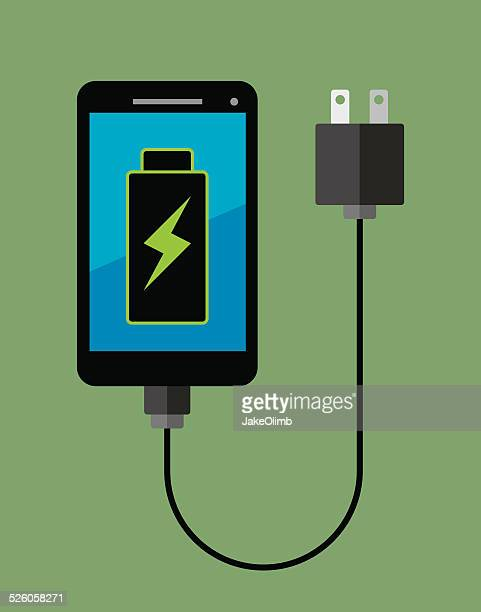 smartphone full battery - cable stock illustrations, clip art, cartoons, & icons