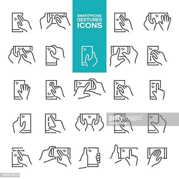 smartphone hand gestures icons - gesturing stock illustrations, clip art, cartoons, & icons