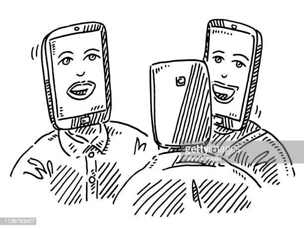 Smartphone-Leiterin spricht mit Zeichnung