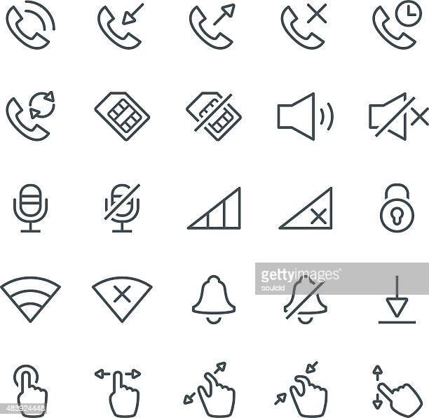 ilustraciones, imágenes clip art, dibujos animados e iconos de stock de smartphone con iconos - sistema operativo