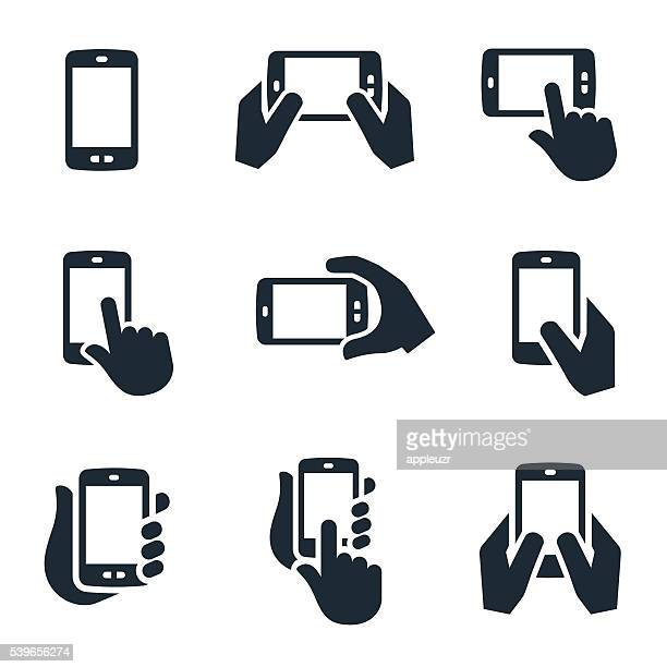 smartphone icons - mobile phone stock illustrations